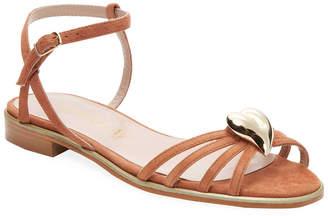 Aperlaï Heart Leather Open-Toe Sandal