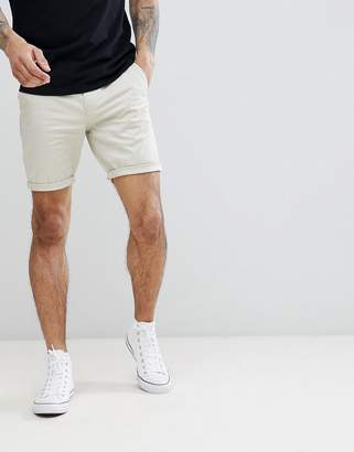 Asos DESIGN Skinny Chino Shorts In Putty