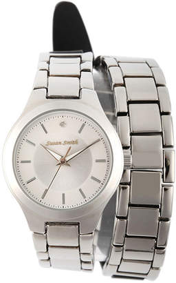 JCPenney FINE JEWELRY Personalized Dial Womens Diamond-Accent Silver-Tone Wrap Bracelet Watch