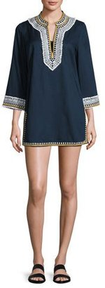 Tory Burch Embroidered 3/4-Sleeve Cotton Coverup Tunic, Tory Navy $325 thestylecure.com