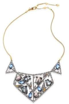 Alexis Bittar Crystal-Encrusted Mosaic Lace Bib Necklace