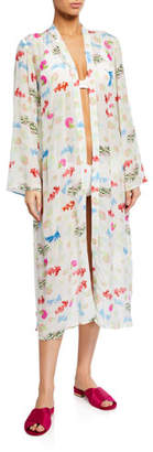 Ultrasoft Verandah Hand Beaded Ultra-Soft Kimono Coverup Robe