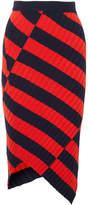 Altuzarra Mallory 不对称条纹弹力针织中长半身裙