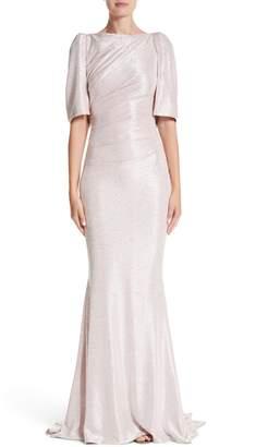 Talbot Runhof Metallic Cloque Mermaid Gown