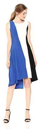 Nine West Women's Sleeveless HI-Low Hem Colorblock Vertical Dress