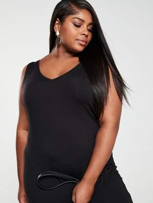 40743981069 V By Very Curve V by Very Curve Split Jersey Maxi Dress - Black