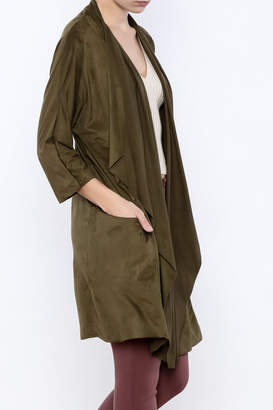 Miracle Berry Faux Suede Waterfall Jacket $45 thestylecure.com