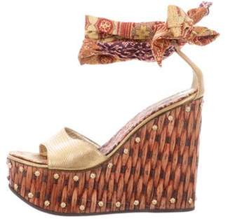 Giuseppe Zanotti Platform Wedge Sandals Gold Platform Wedge Sandals