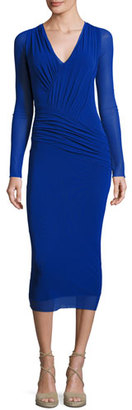 Fuzzi Long-Sleeve Ruched Tulle Midi Dress, Blue $425 thestylecure.com