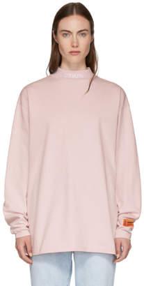Heron Preston Pink Long Sleeve Mock Neck Style T-Shirt