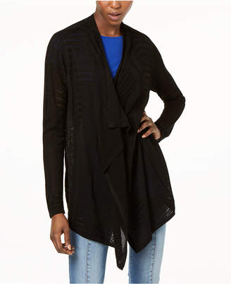 INC International Concepts I.n.c. Draped Perforated Cardigan