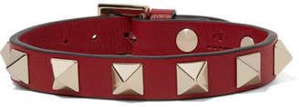 Valentino Garavani The Rockstud Leather Bracelet - Red