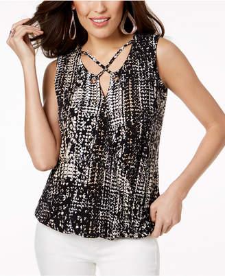 Thalia Sodi Printed Lattice-Neck Top, Created for Macy's