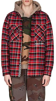 Off-White Men's Cotton-Blend Flannel Shirt - Red
