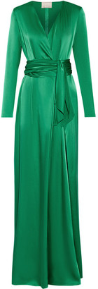 Lanvin - Wrap-effect Silk-satin Gown - Green $3,885 thestylecure.com