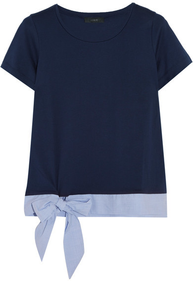 J.Crew - Poplin-trimmed Cotton-jersey T-shirt - Navy
