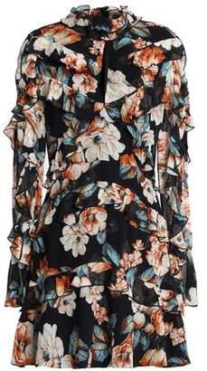 Nicholas Ruffled Floral-Print Silk-Chiffon Mini Dress