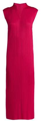 Pleats Please Issey Miyake Pleated V Neck Dress - Womens - Pink