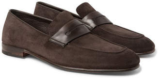 Ermenegildo Zegna Asola Leather-Trimmed Suede Penny Loafers - Men - Dark brown