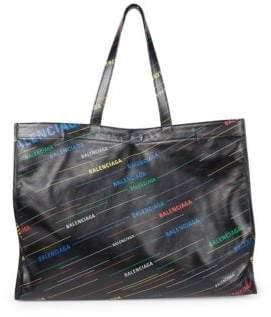Balenciaga Medium Leather Rainbow Logo Shopper