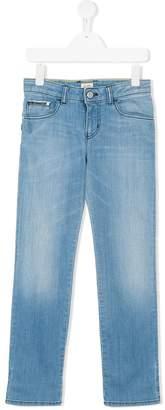 Armani Junior bleach-effect straight leg jeans