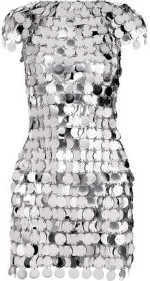 Paco Rabanne Embellished Metallic Mini Dress - Silver