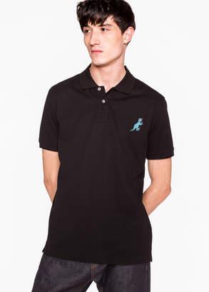 Paul Smith Men's Black Cotton-Pique Embroidered 'Dino' Polo Shirt