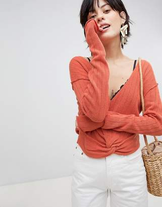 Free People Got Me Twisted Knot Front Sweater