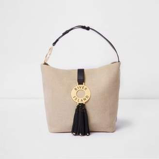 River Island Womens Beige woven ring tassel slouch bag