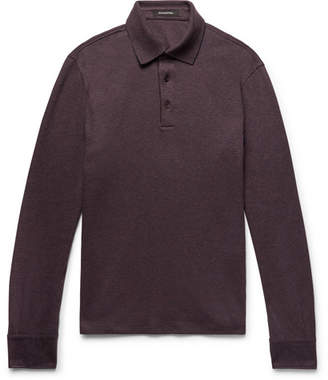 Ermenegildo Zegna Slim-Fit Mélange Cotton-Piqué Polo Shirt
