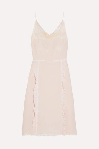 Prada - Ruffled Chantilly Lace-trimmed Silk Crepe De Chine Dress - Neutral