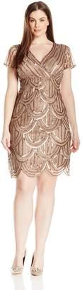 Marina Women's Plus-Size All Over Sequin Scalloped Hem Dress