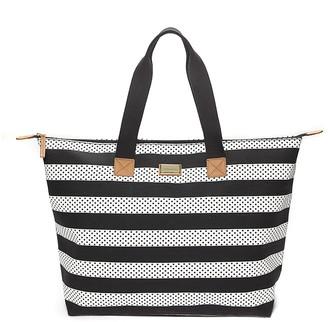 Final Sale- Stripe Dot Zip Tote $59.50 thestylecure.com