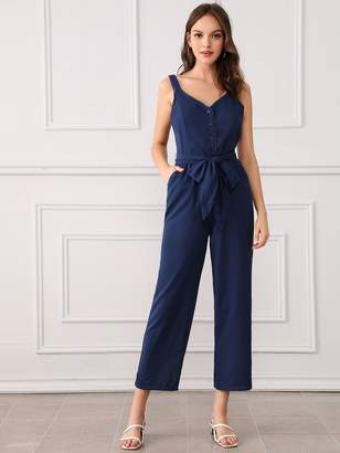 Shein Lace Trim Button Front Belted Palazzo Jumpsuit