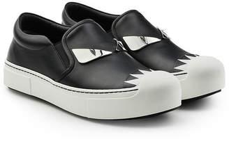 Fendi Embellished Leather Slip-On Sneakers