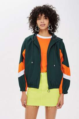 Topshop Womens Green Windbreaker Jacket