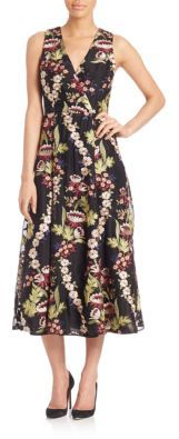 Alice + Olivia Alice + Olivia Tamera Embroidered A-Line Midi Dress