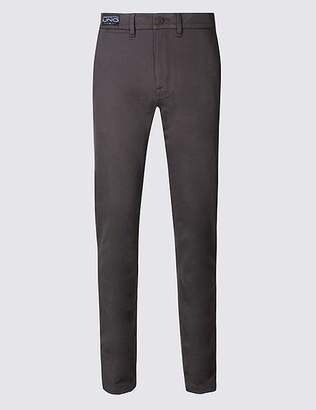Marks and Spencer Straight Fit Cotton Trousers with Stretch