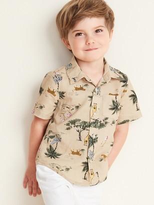 Old Navy Safari Animal-Print Linen-Blend Shirt for Toddler Boys