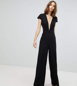 Asos Tall TALL Plunge Neck Jumpsuit with Wide Leg and Open Back
