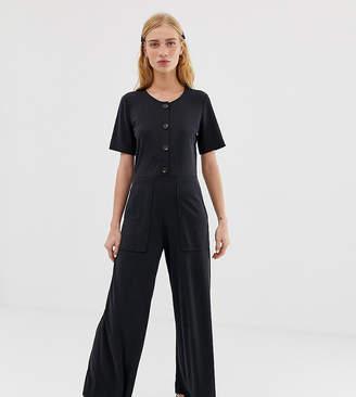 Monki short sleeve wide leg jumpsuit in dark grey