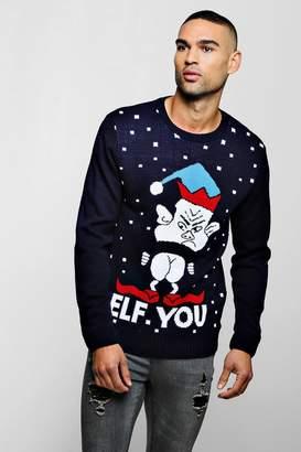 boohoo Elf You Knitted Christmas Jumper