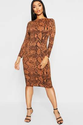 boohoo Tan Snake Print Midi Dress