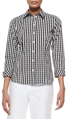 Lafayette 148 New York Janessa Button-Front Check-Print Blouse