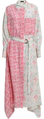 Joseph Draped Floral-print Silk Crepe De Chine Midi Shirt Dress