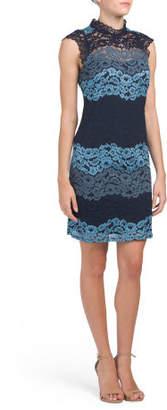 Mock Neck Lace Shift Dress