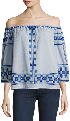 Love Sam Embroidered Off-the-Shoulder Top, Blue $149 thestylecure.com