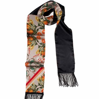 Texas And The Artichoke Pineapple & Prawns Pink Double Sided Skinny Silk Scarf With Fringing