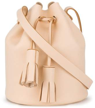 Building Block Peach tassel leather bucket bag