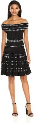 Adelyn Rae Women's Bella Sweater Dress, Black/White, XS